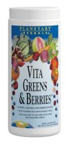 Planetary Herbals Vita Greens and Berries is a broad-spectrum superfood blend that harnesses the rich nutritional benefits of exotic fruits, cereal grasses, sea vegetables (micro-algae), mushroom myconutrients, herbs, vegetables, and high potency antioxidant extracts. Sourced from around the world, this great-tasting berry-flavored blend is an easy way to help meet the USDA recommended daily intake of fruits and vegetables. Convenient yet comprehensive, Vita Greens and Berries was specifically formulated to provide complete nutritional support and even includes several effective strains of healthy probiotics that naturally assist the body's digestive system and optimize nutrient absorption. The blend has been formulated for specific benefits: antioxidant defense, immune health, healthy liver function, and relief of occasional stress. One serving of Planetary Herbals Vita Greens and Berries provides 125% of the Daily Values of vitamin C in a naturally occurring form, and over 3300 ORAC units..