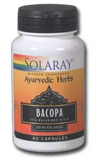 Solaray Ayurvedic Herbs Bacopa Leaf Extract with 20% Bacosides A & B 100 mg per capsule. Bacopa is a natural supplement that works to improve brain function..
