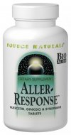 Source Naturals Aller-Response  is a Bio-Aligned seasonal formula that provides systemic support for the sinuses, lungs, and immune system. Aller-Response features quercetin, which has demonstrated the ability to inhibit the release of histamines, according to human cell culture studies. The formula contains powerful herbs, including ginger, <i>ginkgo biloba</i>, amla, and andrographis, which have been used traditionally for lung, bronchial, and immune health. Vitamins A and C, along with Zinc, provide additional immune support..