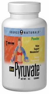 Pyruvate powder may reduce body fat, increase lean body mass and enhance body composition when used with the Maximum Metabolism Weight Loss Plan(TM). Pyruvate plays an important role in metabolism and the energy-production process. It is the link between two of the main energy-generating cycles in the body, glycolysis (anaerobic metabolism) and the Krebs cycle (aerobic metabolism). Pyruvate is also found in small quantities in foods. Source Naturals <b>Diet Pyruvate(TM)</b> is manufactured using a unique process that ensures the products stability and high purity. Extensive research indicates that pyruvate may play an important role in a healthy diet and exercise program..