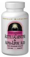Source Naturals Acetyl L-Carnitine & Alpha Lipoic Acid contains two critical nutrients, acetyl l-carnitine and alpha-lipoic acid, to support your vital metabolic functions. These compounds support the body's own system for the maintenance of cellular function as we age..