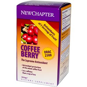 New Chapter's CoffeeBerry Whole-Coffee Fruit Concentrate contains less than 1% caffeine, which means that a daily serving contains no more caffeine than one-tenth of a cup of tea. Maintain healthy blood glucose levels. Neutralize toxic free radicals. Protect cell membranes and human plasma against damaging oxidation.Help preserve natural antioxidants in the body..