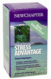 The herbs in Supercritical Stress Advantage have been used by women and men under stress. New Chapter has formulated Stress Advantage in order to support stronger cardiovascular, adrenal and immune system response to stress..