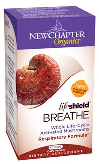 To promote normal lung respiration and function, New Chapters Lifeshield Breathe is formulated with select species of tonic mushrooms, including organic Cordyceps..
