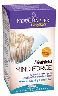 To provide cognitive support and promote normal brain function, New Chapters Lifeshield Mind Force is formulated with select species of tonic mushrooms, including organic Lions Mane..