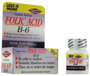 Folic Acid 400mcg w/ Vitamin B6 Instant Release Micro Tablets by Superior Source support healthy nervous system and energy metabolism..