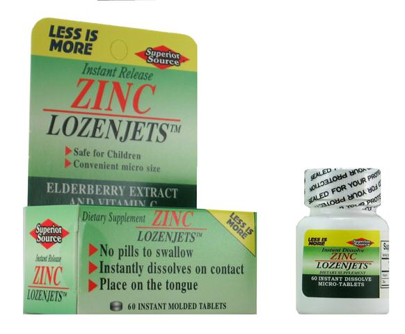 Pleasant tasting Zinc Lozenjets with a combination of Zinc Oxide & Gluconate, as well as Vitamin C, will dissolve in your mouth and then coat the membranes in your throat. Your throat will thank you and your cold may say good bye sooner then you expected!.