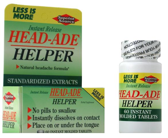 Superior Source Head-Ade Helper blends natural herbal extracts for the relief of head pain associated with stress and tension..