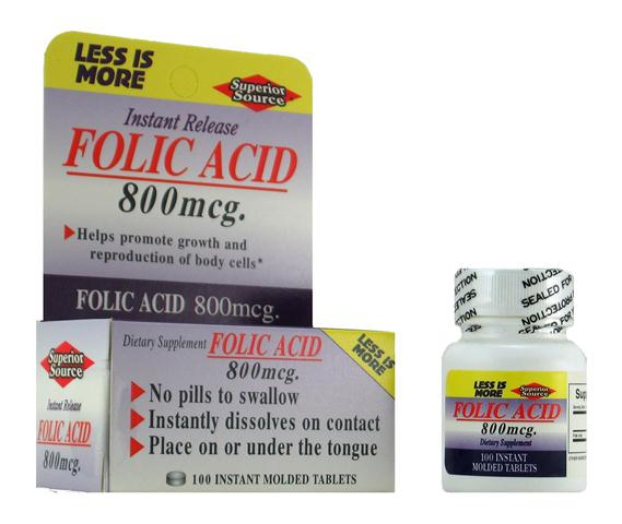 Production and growth of healthy new cells requires Folic Acid.Superior Source Folic Acid 800 mcg instant release sublingual tablets provide 200% of the recommended daily intake by the FDA..