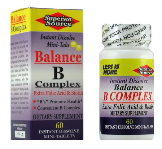 Balance B-Complex with extra Folic Acid & Biotin is a combination of vitamins that work together to provide several health benefits. Increase metabolism, maintain healthy skin, promote muscle tone and enhance nervous system function and improve the immune system..