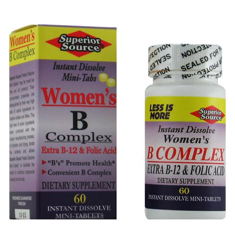 Women's B Complex 'Instant Dissolve Micro-Tabs' are a combination of B Vitamins that work together to provide a number of health benefits. The combination of B-Vitamins can help combat symptoms and or causes of stress, depression and cardiovascular disease, as well as increase metabolism, helps maintain healthy skin and muscle tone and enhance nervous system function and improve the immune system..