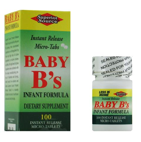 Baby Vitamin B's Infant Formula, the right dosage in an instant melt sublingual micro tablet- No Chew No Choke -for your infants well being and healthy growth..