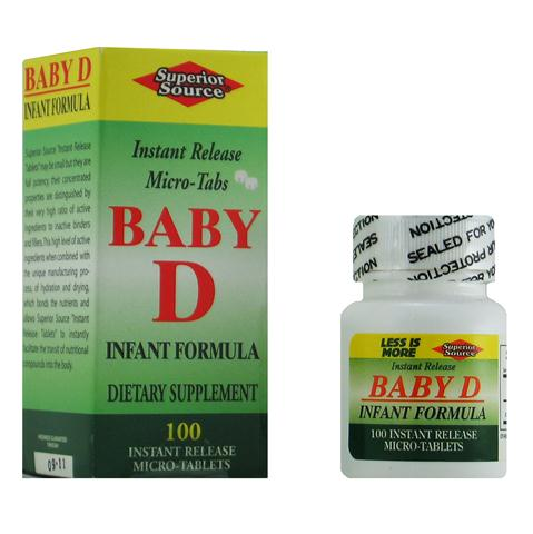 Baby D Infant Formula, sublingual instant dissolve micro tablet, no fillers or additives, Vitamin D nutrition for strong growing bones and teeth..