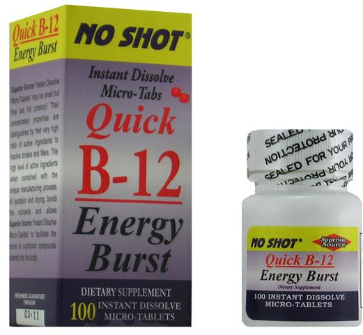 No caffeine required in order to maintain energy and vitality throughout the day. Tale 1-2 sublingual instant dissolve tablets of Vitamin B-12 Energy Burst to sustain your optimal energy level..
