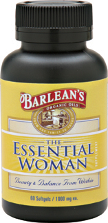 Barleans The Essential Woman is abundant in vital and essential fatty acids, lignans and soy isoflavones. Each drop is pure and pristine, unrefined and unfiltered to bring you vibrant health and energy..