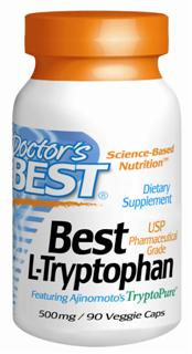 Doctor's Best, Science Based Nutrition, featuring the most trusted and purest pharmaceutical-grade L-tryptophan in the world, Ajinomoto TrytoPure, to help promote healthy mood function and normalize sleep..