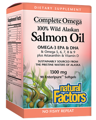 Natural Factors Wild Salmon Oil enteric coated softgels contain 100% pure salmon oil that have a naturally occurring ratio of nearly 1:1 EPA to DHA..