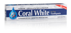 Coral Inc. Eco Safe Coral White Toothpaste, no fluoride, pH balanced, formulated with ionic calcium from above sea coral..