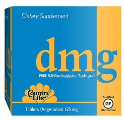 Country Life Pure DMG (N, N-Dimethylglycine) 125 mg Sublingual Tablets. DMG is a derivative of glycine and acts as a building block for many important substances including methionine, choline, and other hormones and neurotransmitters..