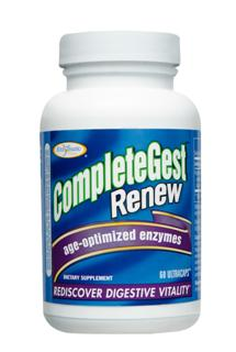 CompleteGest Renew provides Pure Plant enzymes, formulated to address the diet and digestive needs common in adults past their thirties. CompleteGest Renew helps alleviate occasional gas, bloating, heartburn, constipation and loose stools while helping your body absorb nutrients efficiently..