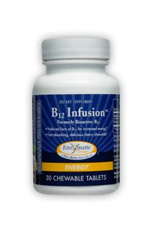 B12 Infusion supplies the active form of Vitamin B12, methylcobalamin, in a chewable vegetarian tablet. Fast acting, readily absorbed vitamin provides real energy support..