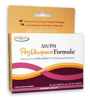 This hormone-free blend relieves the symptoms of perimenopause. Most women typically enter perimenopause during their mid 30's to late 40's. Symptoms are similar to menopause, including: hot flashes, lack of energy and night sweats..