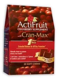 ActiFruit with Cran-Max a Highly Concentrated Cranberry Extract.
