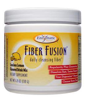 Lemon flavored, vegetarian, daily cleansing Fiber Fusion drink mix in a non-gritty formula, combining psyllium, oat bran, pectin, and other natural ingredients, provides 16% of your daily fiber requirement per serving..