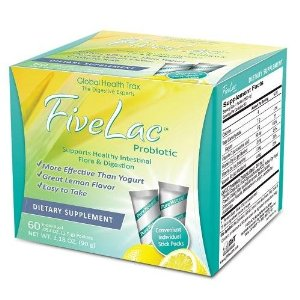 FiveLac is the culmination of many years of scientific research and is designed to provide beneficial intestinal micro-flora. FiveLac is composed of five live strains of good bacteria: Bacillus Coagulans, Bacillus Subtilis, Enterococcus Faecalis, Lactobacillus Acidophilus, and Bifidobacterium Longum..