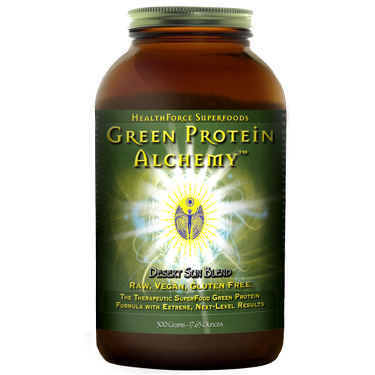 Green Protein Alchemy by Healthforce is a premier blend of carefully selected superfoods, including spirulina, nopal cactus and barley grass. Tasty Sweet Mesquite flavor..