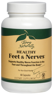 Terry Naturally Healthy Feet and Nerves aids proper blood circulation, supports healthy blood sugar metabolism. The ingredients in Healthy Feet and Nerves have been carefully selected for anyone who has concerns with healthy glucose metabolism and nerve function throughout the body, but especially in the feet..