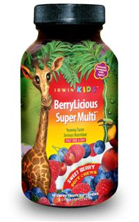 Yummy tasteSerious nutrition for Kids. Pure natural goodness concentrated in a single daily BerryLicious Super Multi Soft Chew. Packed full of 13 vitamins and minerals at 100% (RDI) Recommended Daily Intake, including vitamins D and E, as well as the full spectrum of B vitamins. Includes 150 mg of calcium to help build strong, healthy bones..
