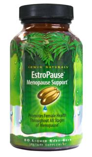 EstroPause Menopause Support* helps promote female health as women enter a new phase of their lives. Hormone free and formulated to support a womans health as she ages using minerals, calcium and magnesium, as well as well known botanicals, black cohosh, chasteberry, red clover and soy..