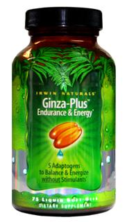 Irwin Naturals Liquid Soft-Gel technology advanced formula Ginza-Plus Endurance and Energy is a unique blend of Maca Root, Rhodiola, Schisandra, Ginseng and Cordyceps Naturally increase energy, enhance mood, promote health and sexual function..