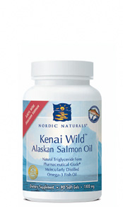 Kenai Wild Alaskan Salmon Oil providing over 500 mg EPA+DHA per serving, plus the beneficial antioxidant astaxanthin. New from Nordic Naturals..
