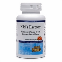 Kids Factors is an essential fatty acid blend that provides a balanced ratio of omega 3, 6, and 9 in a delicious, peach-flavored chewable softgel..