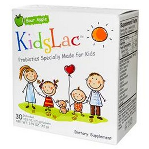 Kidslac contains FIVE different strains of healthy bacteria including the DDS-1 strain of Lactobacillus acidophilus in a sour apple-powder base that kids love..