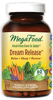 Dream Release combines calming botanicals promoting a sound and restful sleep. MegaFood formula includes magnesium, combined with Valerian, California poppy and Vervain to promote a dream state. .