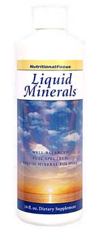 A great tasting, potent and well balanced liquid mineral, formulated for maximum absorption. Nutritional Focus uses the highest quality natural plant source nutrients available. Contains no sugar, starch, soy, yeast, corn or any other known allergens. Free of artificial coloring and flavoring..