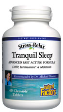 Tranquil Sleep by Natural Factors fast acting formula enhances the quality of sleep..