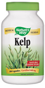 Nature's Way Kelp Capsules. Kelp (Ascophyllum nodosum) is a nutritional seaweed. This particular species grows in coastal ocean waters from 0 to 10 feet deep with the tide. Nature's Way uses whole dried plant guaranteed to naturally contain 0.06% iodine..