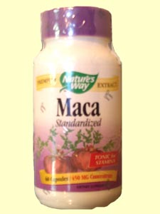 The Maca plant is a root-like vegetable that grows in the Andes Mountains in South America. It has been used by Peruvians for centuries to help enhance sexual libido and stamina. Nature's Way Maca is a natural, herbal boost for sexual interst as well for general energy levels..