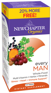 Every Man is an organic whole-food multivitamin formulated specifically for the needs of active men. Bonus Pack-20% more...Free! 144 tablets, $49.17.