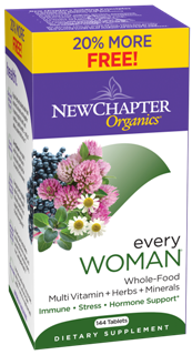 New Whole Food Formula. Every Woman Multivitamin by New Chapter two-a-day formula is easy-to-take, easy-to-digest and New Chapters Multivitamins are made with Organic Ingredients. Bonus Pack $49.17 144 tabs..