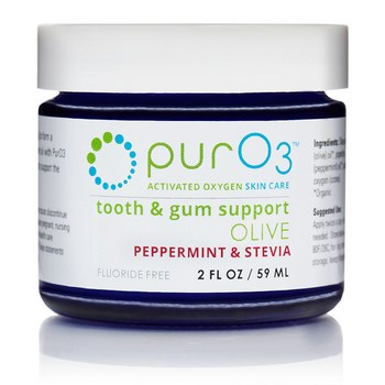 Ozonated olive oil for teeth and gums uses organic peppermint and organic Stevia for improved taste. And it's fluoride free!.