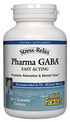 Natural Factors' fast acting PharmaGABA chewable tablets promote relaxation and mental focus..