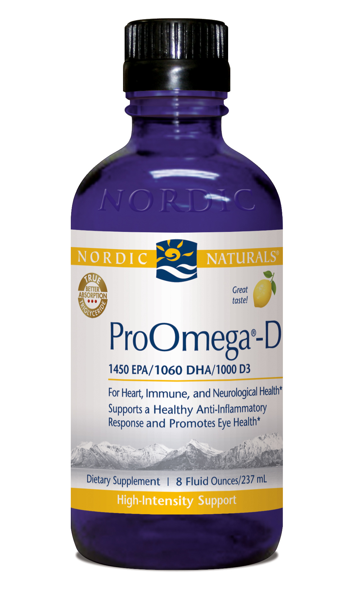 ProOmega-D Liquid from Nordic Naturals nourishes the body with essential Omega-3s and Vitamin D3..