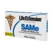 SAMe (S-Adenosyl-Methionine) from Life Extension promotes a positive and well balanced mood, helps maintain joint elasticity and mobility, and protects the liver and brain..