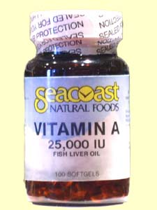 Seacoast Natural Foods Vitamin A is made from fish liver oil. It keeps the eyes, skin, and mucous membranes healthy..