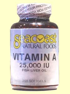 Seacoast Natural Foods Vitamin A comes from fish oil and helps to improve eyes, skin and mucous membranes..